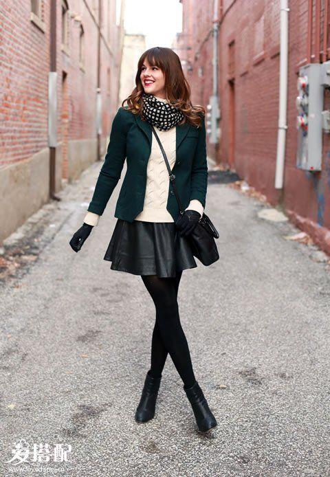 皮裙+针织毛衣